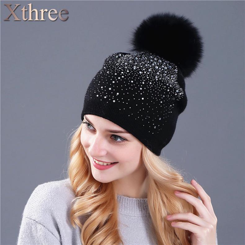74999476cc6 Xthree women s winter hat Rabbit fur wool knitted hat the female of the  mink pom pom Shining Rhinestone hats for women beanies