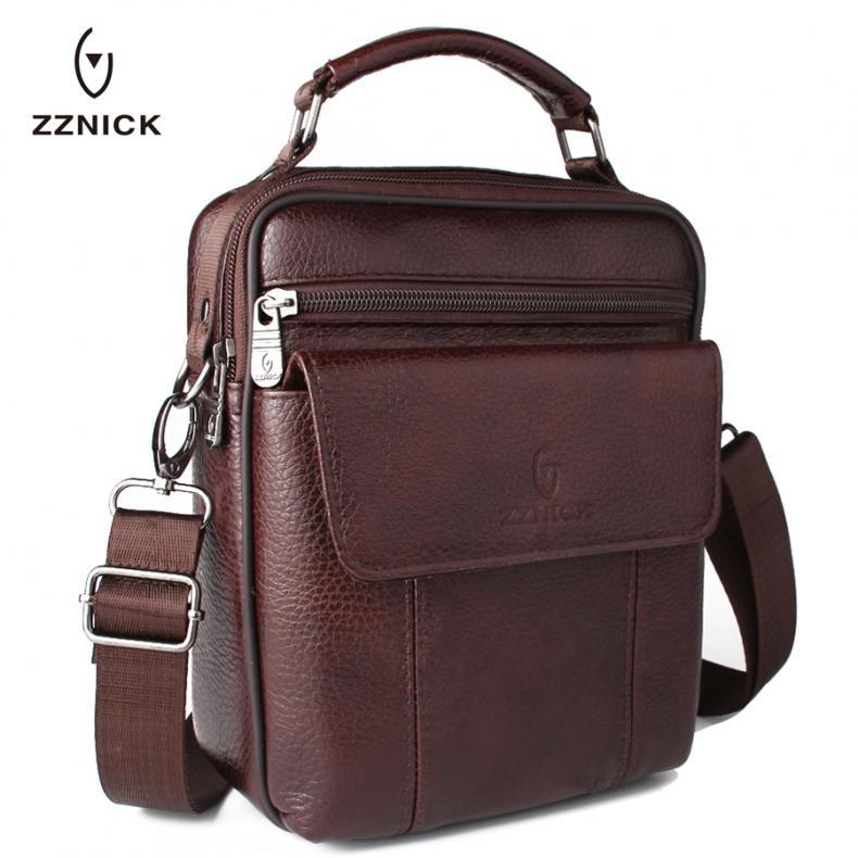 2d38ddd3c60c8 ZZNICK Luxury Men s Genuine Cowhide Leather Bag Men Crossbody Shoulder Bag  Briefcase