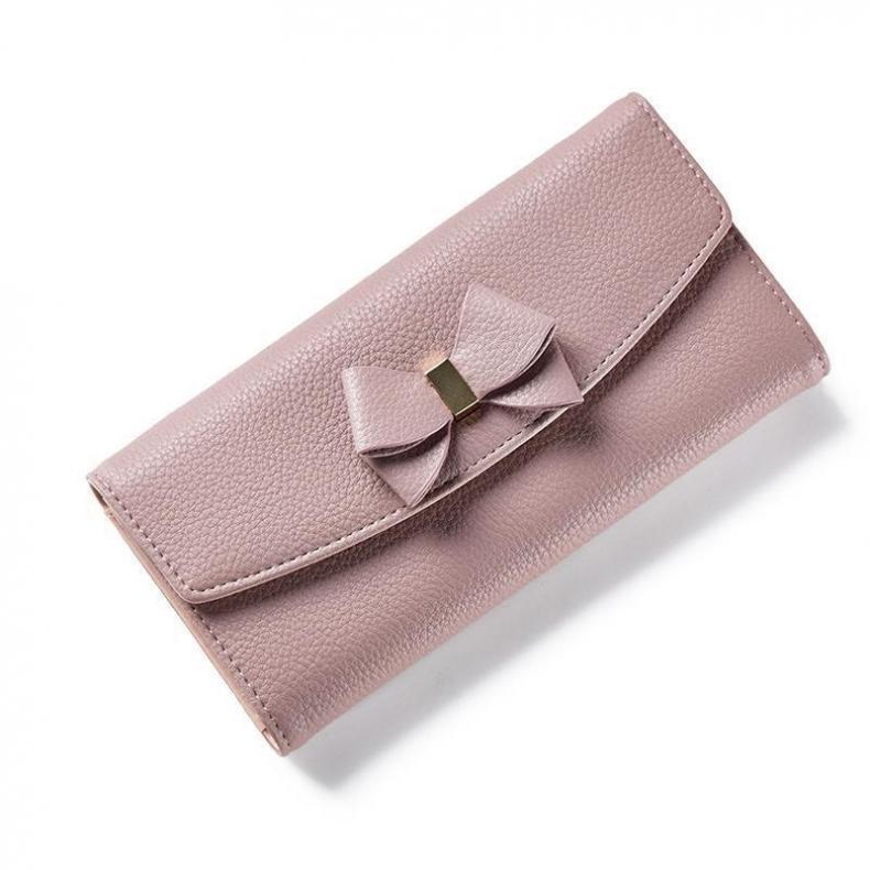 8b29f9aa90b2 Женская мода лук бумажник долго твердый простой HASP женщины кошелек марка  женский кошелек сцепления леди вечерней моды сумки сцепления